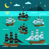 Sailing pirate ships set Stock Photo