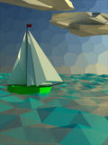 Sailing  polygon yacht Royalty Free Stock Images