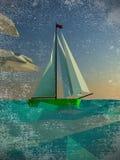 Sailing  polygon yacht Royalty Free Stock Photos