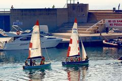 Sailing at Port Olimpic, Barcelona, Spain Stock Photo