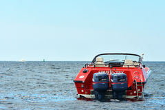 Sailing and power boat. On the open sea royalty free stock photo
