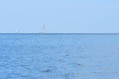 Sailing and power boat. On the open sea royalty free stock images