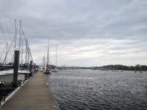 Sailing and power boats moored in lymington marina Royalty Free Stock Photography