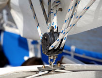 Sailing pulley. Pulley system used for sails on a sailboat royalty free stock images