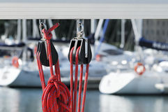 Sailing Pulleys With Rope Stock Photography