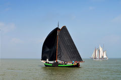 Sailing race on lake ijsselmeer,Volendam,the Netherlands. The IJsselmeer race called Pieperrace is an annual two-day regatta for traditional Dutch barges Stock Images