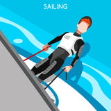 Sailing Race Summer Games Icon Set.3D Isometric Sailor  Stock Image