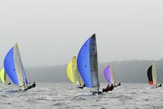 Sailboat Racing on Puget Sound, Seattle, Washington State. Sailing Races in the Pacific Northwest USA on Puget Sound, Washington State Stock Photography