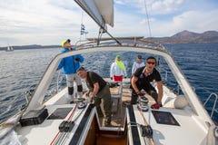 Sailing regatta 16th Ellada Autumn 2016 among Greek island group in the Aegean Sea Royalty Free Stock Photo