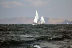 Sailing regatta along the coast Stock Photos