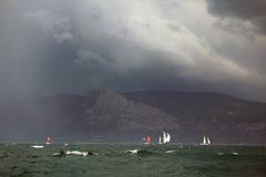 Sailing regatta along the coast Royalty Free Stock Photo