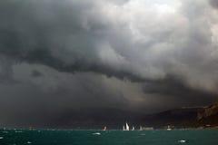 Sailing regatta along the coast Stock Image