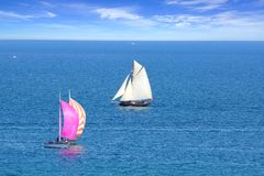Sailing Regatta in the Cancale Bay. Royalty Free Stock Photos