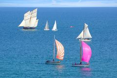 Sailing Regatta in the Cancale Bay. Royalty Free Stock Photo