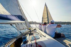 Sailing regatta on charter cruising boats Royalty Free Stock Image