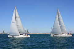Sailing regatta of cruiser sailing yachts Stock Images