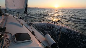 Sailing regatta in Greece, during sunset. Travel. stock footage