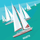 Sailing regatta with lots of boats. Large number of sailing boats floating right. Side view. Signature Regatta - Race sailing yachts or Parade of ships concept stock illustration