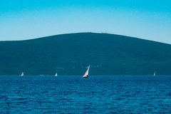 Sailing regatta in Montenegro. Regatta on yachts in the Boka Bay Stock Images