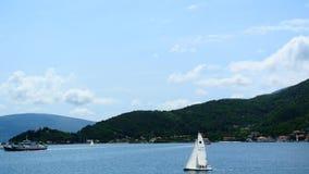 Sailing regatta in Montenegro. Regatta on yachts in the Boka Bay stock video