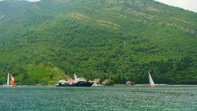 Sailing regatta in Montenegro. Regatta on yachts in the Boka Bay stock video footage