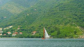 Sailing regatta in Montenegro. Regatta on yachts in the Boka Bay. Of Kotor in the Adriatic Sea. Sports competitions on yachts stock footage