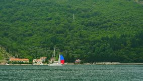 Sailing regatta in Montenegro. Regatta on yachts in the Boka Bay. Of Kotor in the Adriatic Sea. Sports competitions on yachts stock video