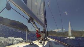 Sailing regatta 12th Ellada Autumn 2014 among Greek island group in the Aegean Sea, in Cyclades and Argo-Saronic Gulf. stock footage