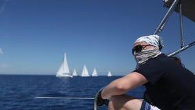 Sailing regatta 12th Ellada Autumn 2014 among Greek island group in the Aegean Sea, in Cyclades and Argo-Saronic Gulf. stock video footage
