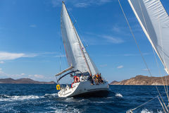 Sailing regatta 16th Ellada Autumn 2016 among Greek island group in the Aegean Sea, in Cyclades and Saronic Gulf. Royalty Free Stock Image