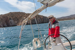 Sailing regatta 16th Ellada Autumn 2016 among Greek island group in the Aegean Sea, in Cyclades and Saronic Gulf. Stock Images
