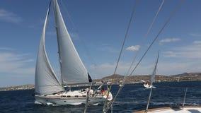 Sailing regatta 16th Ellada Autumn 2016 among Greek island group in the Aegean Sea, in Cyclades and Saronic Gulf. stock video