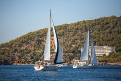 Sailing regatta 16th Ellada Autumn 2016 among Greek island group in the Aegean Sea, in Cyclades and Saronic Gulf. POROS, GREECE - SEP 29, 2016: Sailors stock photo