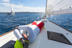 Sailing regatta 16th Ellada Autumn 2016 among Greek island group in the Aegean Sea Royalty Free Stock Images