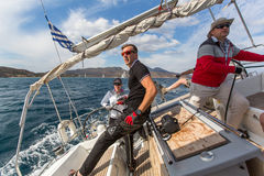 Sailing regatta 16th Ellada Autumn 2016 among Greek island group in the Aegean Sea Royalty Free Stock Photography