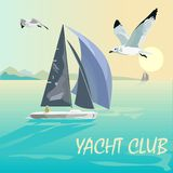 Sailing regatta. Yacht Club. Sports competitions on yachts. Sea, mountains, boats, ocean and seagulls. Active lifestyle. royalty free illustration