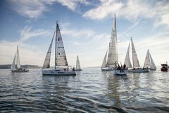 Sailing reggata. Start of a sailing regatta in the sea stock image