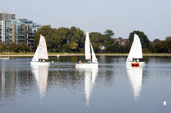 Sailing on the reservoir Stock Photography