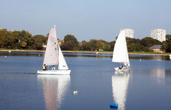 Sailing on the reservoir Stock Images