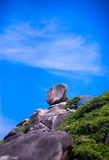 Sailing Rock, clear sea and blue sky on the island of Koh Similan Royalty Free Stock Images