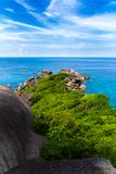 Sailing Rock, clear sea and blue sky on the island of Koh Similan, the group Similan Islands, Andaman sea, Thailand. Sailing Rock, clear sea and blue sky on the stock image