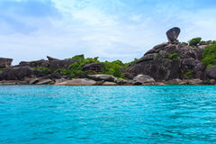 Sailing Rock and beautiful tropical sea of Similan island, Phang-nga, Thailand Royalty Free Stock Image