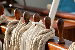 Sailing rope on belaying pins Royalty Free Stock Image