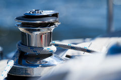 Sailing rope. Detail in sailing boat. Nautical vessel Stock Photo