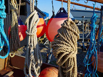 Sailing ropes,buoy and securing equipment Stock Photography