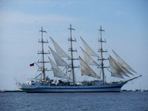 Sailing Russian ship. Russian three-masted full-rigged ship Mir during The Tall Ships' Races 2013 regatta in Riga Royalty Free Stock Photos