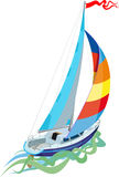 Sailing in sail yacht. View from the stern Royalty Free Stock Photo