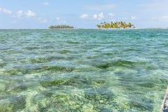 Sailing between San Blas caribbean islands. Panama paradise. Cen Stock Photos