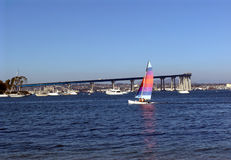 Sailing San Diego. Near Coronado bridge Stock Images