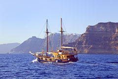 Sailing into Santorini Stock Image
